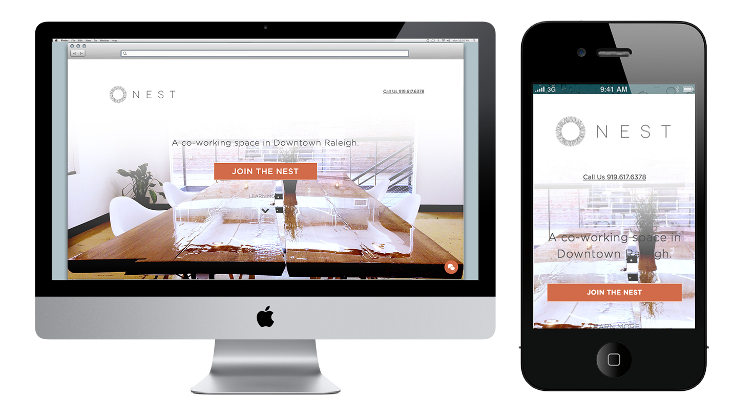 Nest Raleigh Website design by Quillor