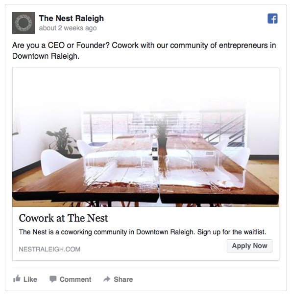 Nest Raleigh Facebook Ads by Quillor